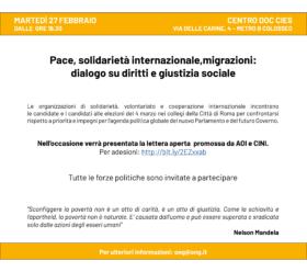 Pace, solidarietà internazionale, migrazioni: dialogo su diritti e giustizia sociale
