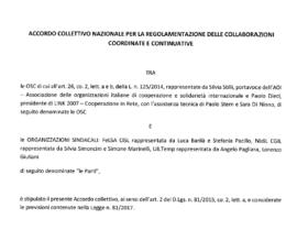 Nuovo accordo per i contratti di cooperanti e operatori