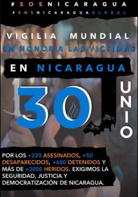 #SOSNicaragua – 30 giugno – Manifestazioni in tutto il mondo