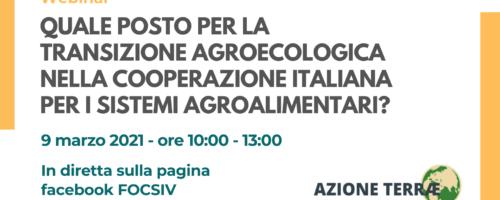 Quale posto per la transizione agroecologica nella cooperazione italiana per i sistemi agroalimentari?